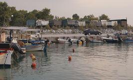 Sunrise in the village harbour. The small harbour in Litohoro, Greece Royalty Free Stock Photo