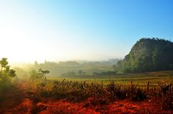 Sunrise in Vinales valley, Cuba Royalty Free Stock Photography