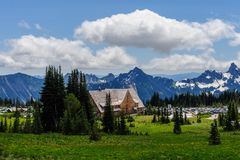 The Sunrise Visitor Center. Overview of the Sunrise visitor center and parking area on Mount Rainier, on a summer afternoon stock photography
