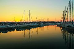 Sunrise in Vodice. Beautiful morning in port. Calm sunrise royalty free stock photo