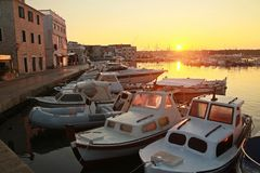 Sunrise in Vodice. Morning sun in center of Vodice Stock Photography