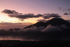 Sunrise on the volcano and Batur lake Stock Image