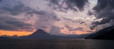 Sunrise volcano lake Stock Photo