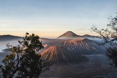 Sunrise at volcano Mt.Bromo Gunung Bromo East Java,Indonesia royalty free stock images