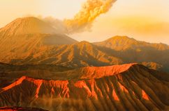 Sunrise volcanos Semeru and Bromo mount in East Java. Indonesia, Southeast Asia royalty free stock images