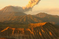 Sunrise volcanos Semeru and Bromo mount in East Java. Indonesia, Southeast Asia royalty free stock photos