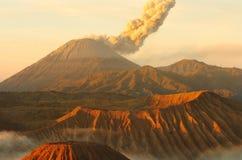 Sunrise volcanos Semeru and Bromo mount in East Java. Indonesia, Southeast Asia stock photo