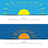 Sunrise vs sunset. The sunbeams energy at sunrise vs sunset royalty free illustration