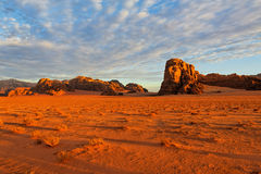 Sunrise in the Wadi Rum desert, Jordan. Stock Image