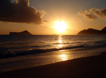 Sunrise on Waimanalo Beach on Oahu, Hawaii Royalty Free Stock Image