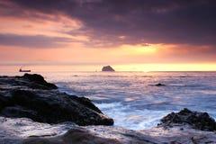 Sunrise at Waimu Shan Seashore in Keelung Royalty Free Stock Images
