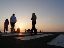 Sunrise walk. Near salt-lake Stock Images