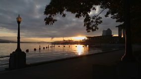 Sunrise Walk, Coal Harbor, Vancouver stock video footage