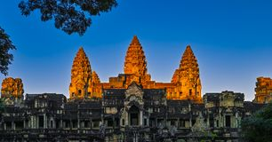 Golden Angkor Wat. When sunrise, the warm sunrise lights was Shining on Angkor Wat, making it a golden castle., Siem reap, Cambodia stock photos
