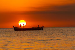 Sunrise. It was taken in my small town. Tuticorin is a small town in the southern part of India. The town is very famous for Sunrise and Fishing Stock Photo