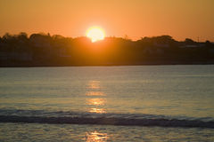 Sunrise on water in Newport, Rhode Island Stock Image