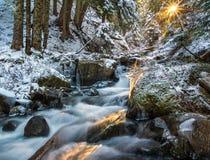 Sunrise and Waterfall, Washington State Stock Images