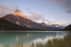 Sunrise at Waterfowl Lake in Canadian Rockies Royalty Free Stock Image