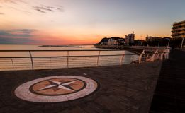 Sunrise on the waterfront of Pesaro. Marche region, Italy - Sunrise on the waterfront of Pesaro royalty free stock photos