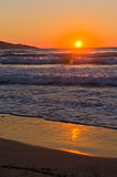 Sunrise and waves at the golden beach, Thassos island Stock Images