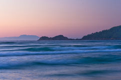 Sunrise and waves at the golden beach, Thassos island Stock Photography