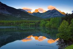 Sunrise at Wedge Pond, Kananaskis, Alberta, Canada Stock Images