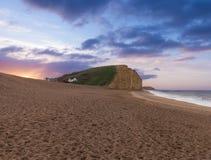 Sunrise at West Bay Dorset in UK Stock Photos