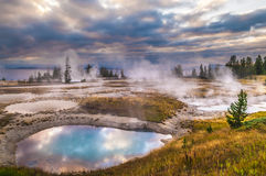 Sunrise in West Thumb Geyser Basin - Yellowstone Royalty Free Stock Photography