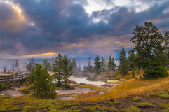 Sunrise in West Thumb Geyser Basin - Yellowstone Stock Photo