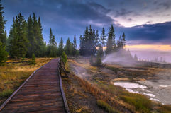 Sunrise in West Thumb Geyser Basin - Yellowstone royalty free stock images