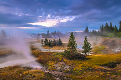 Sunrise in West Thumb Geyser Basin - Yellowstone Stock Image