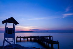 Sunrise at wharf, Rayong, Thailand Royalty Free Stock Photography
