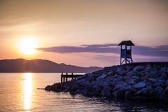 Sunrise at wharf, Rayong, Thailand Stock Photography