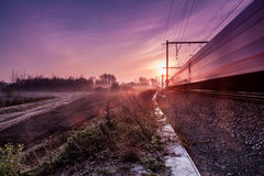 Sunrise whit train Royalty Free Stock Photography