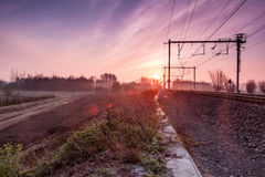 Sunrise whit train Royalty Free Stock Image