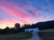 Sunrise in White Mountains in New Hampshire. Beautiful sunrise in White Mountains in New Hampshire amazingly color stock image