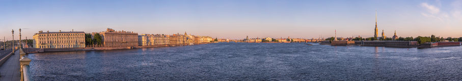 Sunrise wide angle panorama of a city river of Saint - Petersburg Royalty Free Stock Images