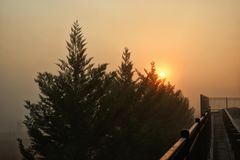 Sunrise and Wildfire Smoked Filled Sky in North Georgia Stock Photography