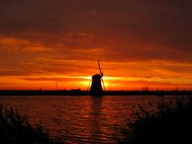Sunrise windmill Stock Photo