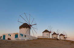 Sunrise in windmills in Mykonos Island Greece cyclades Royalty Free Stock Photography