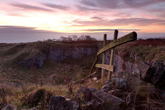 Sunrise on a Windy Hilltop Stock Images