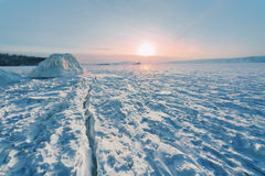 Sunrise on winter Baikal Royalty Free Stock Photos