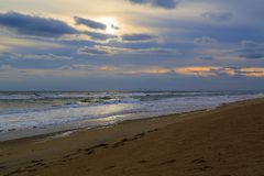 Sunrise in winter on beach in North Carolina Stock Photography