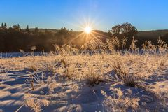 Sunrise in the winter Stock Images