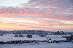 Sunrise in a winter landscape Royalty Free Stock Photos