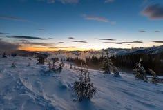 Sunrise winter mountain landscape (Carpathian). Royalty Free Stock Images