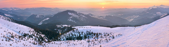 Sunrise winter mountain panorama Royalty Free Stock Photos