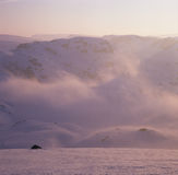 Sunrise in the winter mountains Royalty Free Stock Photo