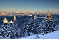 Sunrise in winter mountains - Greater Fatra, Slovakia Stock Images