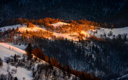 Sunrise in winter mountains Stock Images